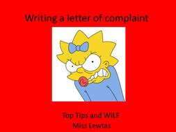 Help writing a complaint letter
